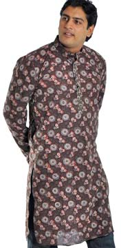 Brown Cotton Kurta with Kalamkaari Print